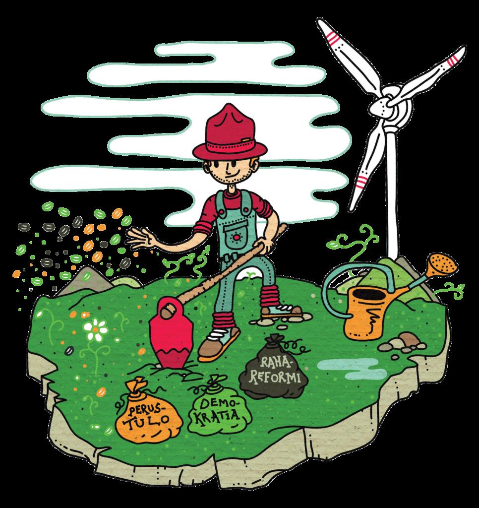 Kuvitus, jossa puutarhuri kylvää perustuloa, demokratiaa ja rahareformia.